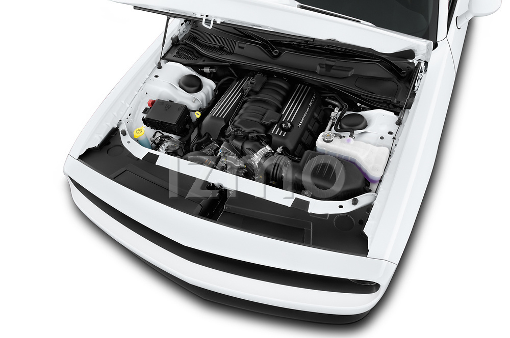 Car Stock 2016 Dodge Challenger Scat-Pack 2 Door Coupe Engine  high angle detail view