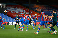29th June 2020; Selhurst Park, London, England; English Premier League Football, Crystal Palace versus Burnley Football Club; Ben Mee of Burnley heads the ball past James McCarthy of Crystal Palace to score his sides 1st goal in the 62nd minute to make it 0-1