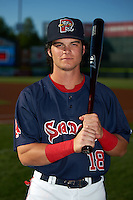 Portland Sea Dogs designated hitter Andrew Benintendi (18) poses for a photo before a game against the Reading Fightin Phils on May 31, 2016 at Hadlock Field in Portland, Maine.  Reading defeated Portland 6-4.  (Mike Janes/Four Seam Images)