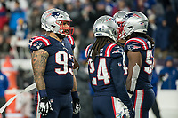 FOXBORO, MA - OCTOBER 10: New England Patriots Defensive lineman Lawrence Guy (93) during a game between New York Giants and New England Patriots at Gillettes on October 10, 2019 in Foxboro, Massachusetts.
