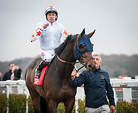 NEWCASTLE UPON TYNE - MARCH 30: Gronkowski, ridden by Jamie Spencer, wins the Burradon Stakes at Newcastle Racecourse in Newcastle Upon Tyne, UK (Photo by Sophie Shore/Eclipse Sportswire/Getty Images)