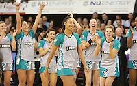 11.07.2010 Thunderbirds Geva Mentor is player of the day during the ANZ Champs Final netball match between the Magic and Tunderbirds played at the Adelaide Entertainment Centre in Adelaide. ©MBPHOTO/Michael Bradley
