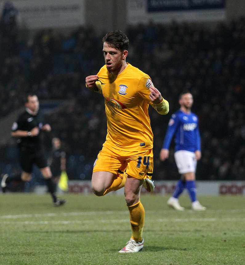 Preston North End's Joe Garner celebrates scoring his sides first goal <br /> <br /> Photographer Mick Walker/CameraSport<br /> <br /> Football - The Football League Sky Bet League One - Tuesday 10th February 2015 - Chesterfield v Preston North End - Proact Stadium - Chesterfield<br /> <br /> &copy; CameraSport - 43 Linden Ave. Countesthorpe. Leicester. England. LE8 5PG - Tel: +44 (0) 116 277 4147 - admin@camerasport.com - www.camerasport.com