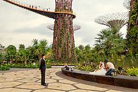A wedding photo shoot for a bride in the Gardens by the Bay, located in the south part of the bay, close to the Marina Bay Sands resort hotel.