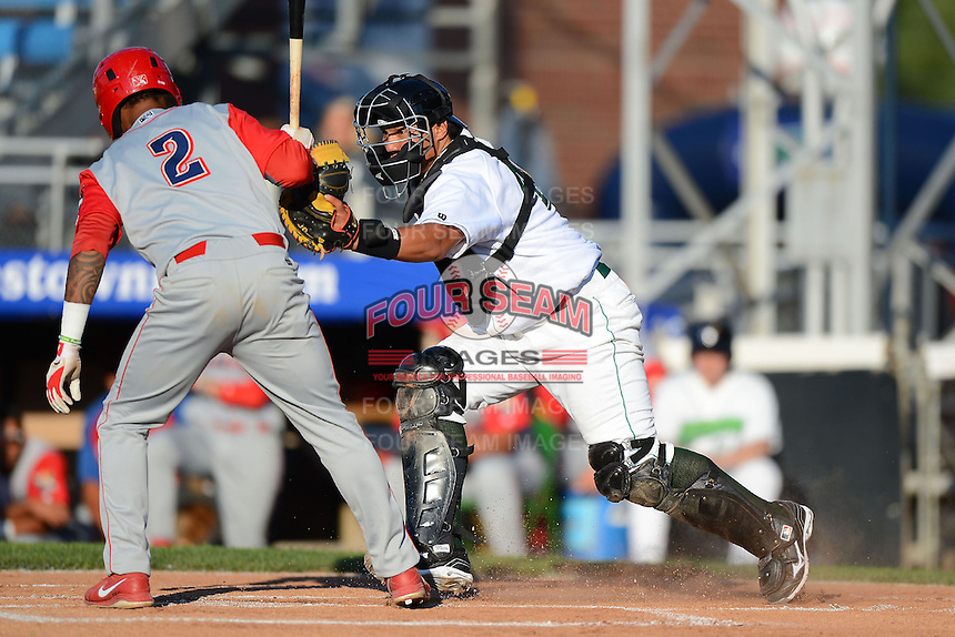 Jamestown Jammers catcher Jin-De Jhang #47 tags Angelo Mora #2 to complete the strike out during a game against the Williamsport Crosscutters on June 20, 2013 at Russell Diethrick Park in Jamestown, New York.  Jamestown defeated Williamsport 12-6.  (Mike Janes/Four Seam Images)