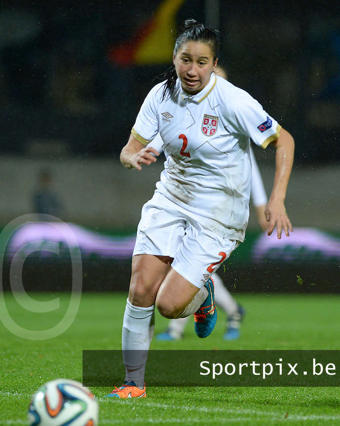 20151130 - LEUVEN ,  BELGIUM : Serbian Jasna Djordjevic pictured during the female soccer game between the Belgian Red Flames and Serbia , the third game in the qualification for the European Championship in The Netherlands 2017  , Monday 30 November 2015 at Stadion Den Dreef  in Leuven , Belgium. PHOTO DAVID CATRY