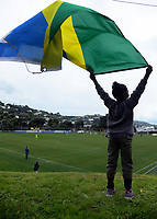A Solomon Islands fan during the 2019 OFC Champions League quarter final football match between Team Wellington and Henderson Eels at David Farrington Park in Wellington on Sunday, 7 April 2019. Photo: Dave Lintott / lintottphoto.co.nz