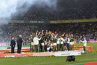 1st November 2019, Yokohama, Japan;  Players of South Africa celebrate with the trophy during the awards ceremony after the 2019 Rugby World Cup Final match between England and South Africa at the International Stadium Yokohama in Yokohama, Kanagawa, Japan on November 2, 2019.