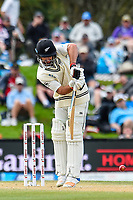 Colin De Grandhomme of the Black Caps bats one away during the final day of the Second International Cricket Test match, New Zealand V England, Hagley Oval, Christchurch, New Zealand, 3rd April 2018.Copyright photo: John Davidson / www.photosport.nz