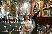 First lady Laura Bush is given a tour of Saint John at the Lateran Church in Rome by art historian Doctor Stefano Aluffi-Tentini in Rome, Italy on Thursday, April 7, 2005.  The President and Mrs. Bush are in Rome for the Friday funeral of Pope John Paul II. <br /> Mandatory Credit: Krisanne Johnson / White House via CNP