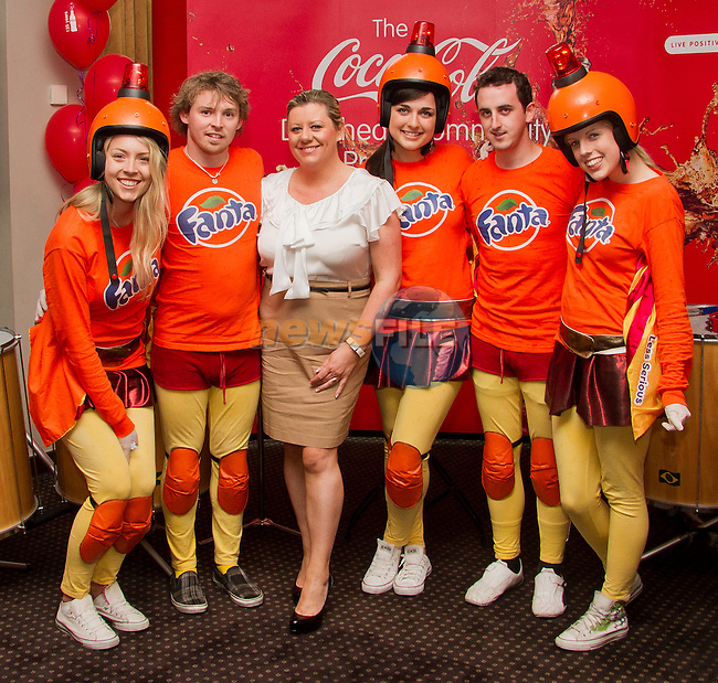 Coca Cola's Julie Plunket with the Fanta Crew in the D hotel for the Samba Festival Launch..Picture: Shane Maguire / www.newsfile.ie.