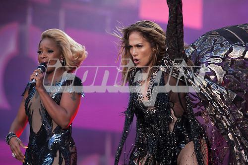 Jennifer Lopez  and Mary J Blige - performing live  at the Sound of Change Live concert held at Twickenham Stadium Surrey UK - 01 Jun 2013.  Photo credit: John Rahim/Music Pics Ltd/IconicPix