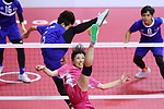 Azusa Kikuchi (JPN), <br /> AUGUST 20, 2018 - Sepak takraw : <br /> Women's Team Regu Preliminary match <br /> between Malaysia - Japan<br /> at Jakabaring Sport Center Ranau Hall <br /> during the 2018 Jakarta Palembang Asian Games <br /> in Palembang, Indonesia. <br /> (Photo by Yohei Osada/AFLO SPORT)