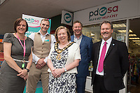Pictured from left are PDSA Shop Manager Moira Earley, Assistant Manager Johnathan Winfield-Hunt, Mayor of Erewash Councillor Val Custance, PDSA Regional Operations Manager Jeff Brown and PDSA Head of Retail Philip Klette