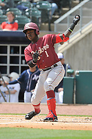 Frisco RoughRiders shortstop Michael De Leon (1) swings during a game against the Northwest Arkansas Naturals at Arvest Ballpark on May 24, 2017 in Springdale, Arkansas.  The RoughRiders defeated the Naturals 7-6 in the completion of the game suspended on May 23, 2017.  (Dennis Hubbard/Four Seam Images)