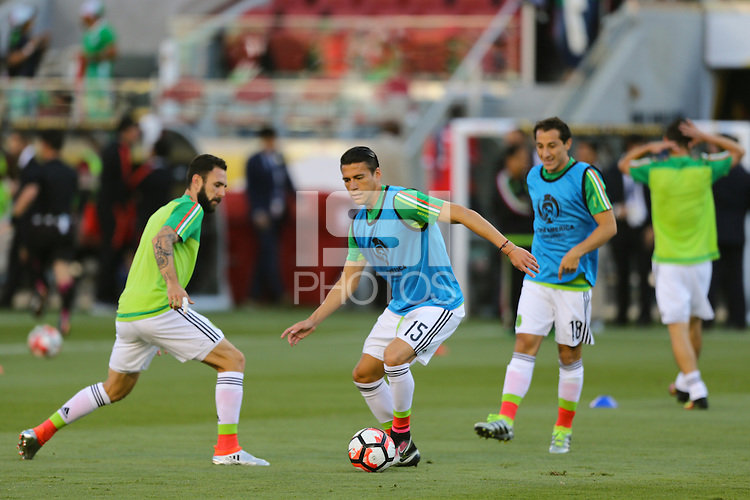 Santa Clara, CA - Saturday June 18, 2016: Mexico warms up, Hector Moreno during a Copa America Centenario quarterfinal match between Mexico (MEX) and Chile (CHI) at Levi's Stadium.