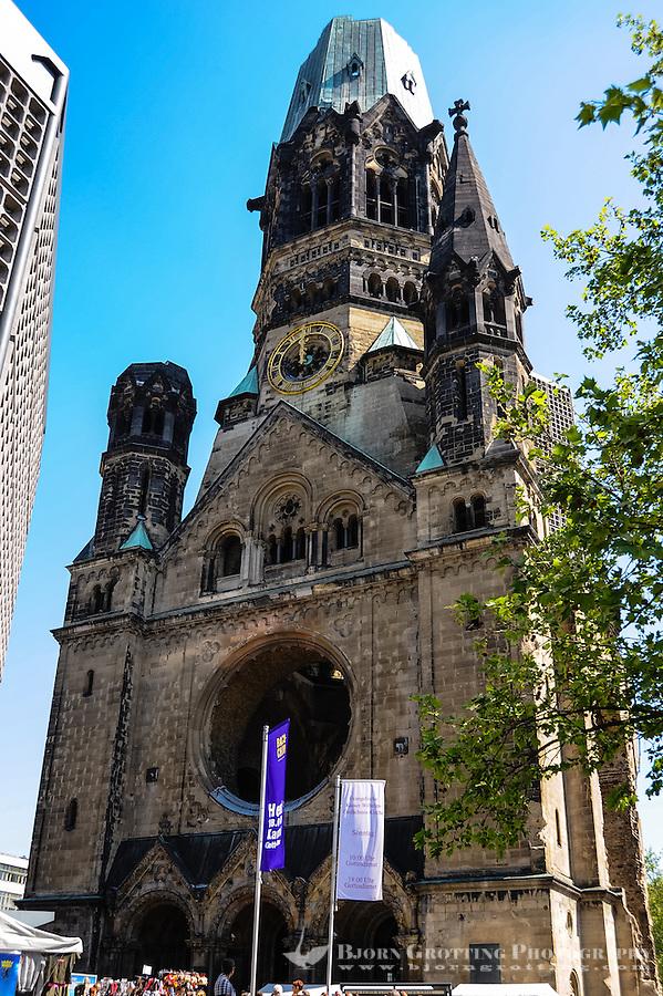 Berlin, Germany. Kaiser Wilhelm Memorial Church Kurfürstendamm in the centre of the Breitscheidplatz. Bombed in 1943 during WW2.