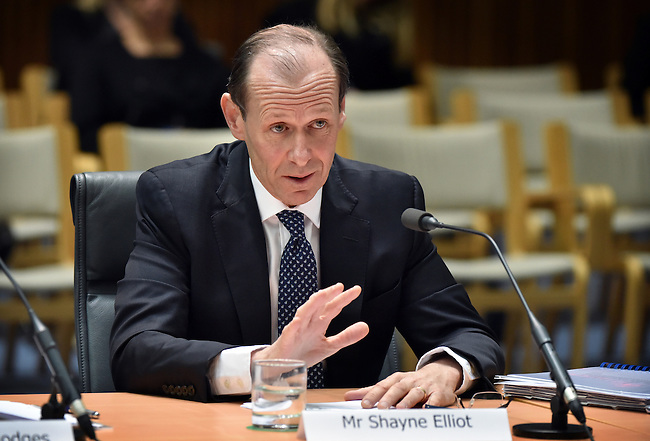 ANZ CEO Shayne Elliott speaks at the House of Representatives Standing Committee hearing with the heads of the Big 4 banks,  Canberra, on October 5, 2016. Photographer: Mark Graham/Bloomberg