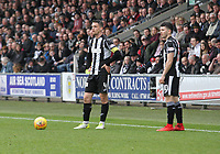Stephen McGinn (left) and Lewis Morgan wait to take a free kick in the St Mirren v Livingston Scottish Professional Football League Ladbrokes Championship match played at the Paisley 2021 Stadium, Paisley on 14.4.18.