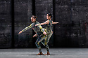 London, UK. 07.11.2019. Rambert presents RAMBERT EVENT, by Merce Cunningham, at Sadler's Wells. Choreography by Merce Cunningham, staging by Jeannie Steele, Music by Philip Selway, Quinta and Adem Ilhan, designs inspired by Gerhard Richter's 'Cage' series, performed by Rambert. The dancers are: Guillaume Queau, Soojin Choi. Photograph © Jane Hobson.