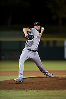 Salt River Rafters relief pitcher Mitch Horacek (32), of the Colorado Rockies organization, delivers a pitch during an Arizona Fall League game against the Scottsdale Scorpions at Scottsdale Stadium on October 12, 2018 in Scottsdale, Arizona. Scottsdale defeated Salt River 6-2. (Zachary Lucy/Four Seam Images)