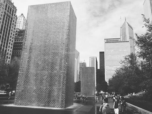 Crown Fountain by Jaume Plensa in Millennium Park in Chicago, Illinois.
