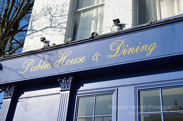 'Public House and Dining' sign outside a pub