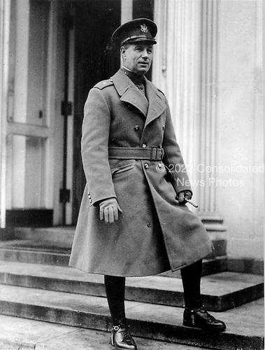 "Billy Mitchell is one of the most famous and controversial figures in American airpower history.  He was born December 28, 1879.  Mitchell was the first prominent American to publicly speak about his vision of strategic airpower that would dominate future war. He believed that aircraft were inherently offensive and were strategic weapons that revolutionized war by allowing a direct attack on the ""vital centers"" of an enemy country. These vital centers were the mighty industrial areas that produced the vast amount of armaments and equipment so necessary in modern war.  His relations with superiors deteriorated as he began to attack both the War and Navy Departments for being insufficiently farsighted regarding airpower. His fight with the Navy climaxed with the dramatic bombing tests of 1921 and 1923 that sank several battleships, which Mitchell said proved that surface fleets were obsolete. Within the Army he also experienced difficulties, notably with his superiors, and in early 1925 he reverted to his permanent rank of colonel and was transferred to Texas.  When the Navy dirigible ""Shenandoah"" crashed in a storm and killed 14 of the crew, Mitchell issued his famous statement accusing senior leaders in the Army and Navy of incompetence and ""almost treasonable administration of the national defense."" He was court-martialed, found guilty of insubordination and suspended from active duty for five years without pay. He elected to resign instead as of February 1, 1926, and spent the next decade continuing to write and speak about airpower. Mitchell's plea for an independent air force was met to a degree in the creation of General Headquarters Air Force in March 1935.   Mitchell died February 19, 1936..Credit: U.S. Air Force via CNP"