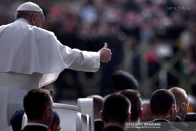 Pope Francis during of a weekly general audience at St Peter's square in Vatican. April 26, 2017