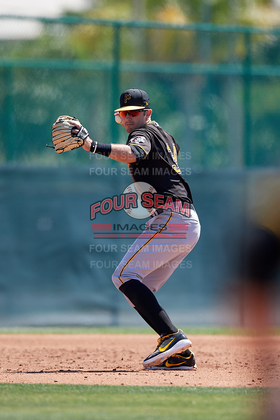 Pittsburgh Pirates Dylan Busby (34) during a minor league Spring Training game against the Atlanta Braves on March 13, 2018 at Pirate City in Bradenton, Florida.  (Mike Janes/Four Seam Images)