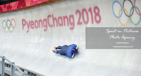 Dom Parsons (GBR). Mens Skeleton training. Pyeongchang2018 winter Olympics. Olympic sliding centre. Alpensia. Pyeongchang. Republic of Korea. 07/02/2018. ~ MANDATORY CREDIT Garry Bowden/SIPPA - NO UNAUTHORISED USE - +44 7837 394578