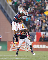 Foxborough, Massachusetts - November 29, 2014: First half action. In Major League Soccer (MLS) Eastern Conference aggregate goal final, New England Revolution (blue/white) vs New York Red Bulls (white/red), 1-1 (halftime), at Gillette Stadium.