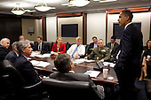 Washington, DC - October 5, 2009 -- United States President Barack Obama meets with advisors regarding Afghanistan in the Situation Room of the White House, Monday, October 5, 2009..Mandatory Credit: Pete Souza - White House via CNP