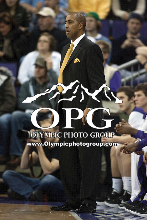 Jan 15, 2012:  Washington head coach Lorenzo Romar against Washington State.  Washington defeated Washington State 75-65 at Alaska Airlines Arena Seattle, Washington...