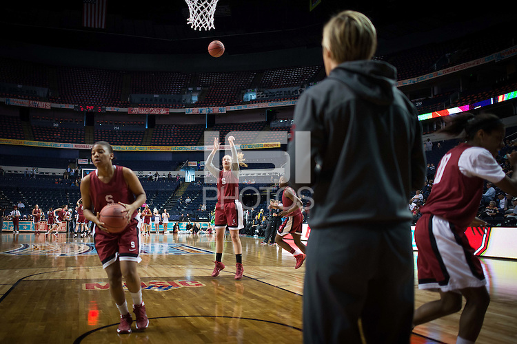 NASHVILLE, TN - The Stanford Cardinal take practice in Nashville, TN for the 2014 NCAA Final Four tournament at the Bridgestone Arena.