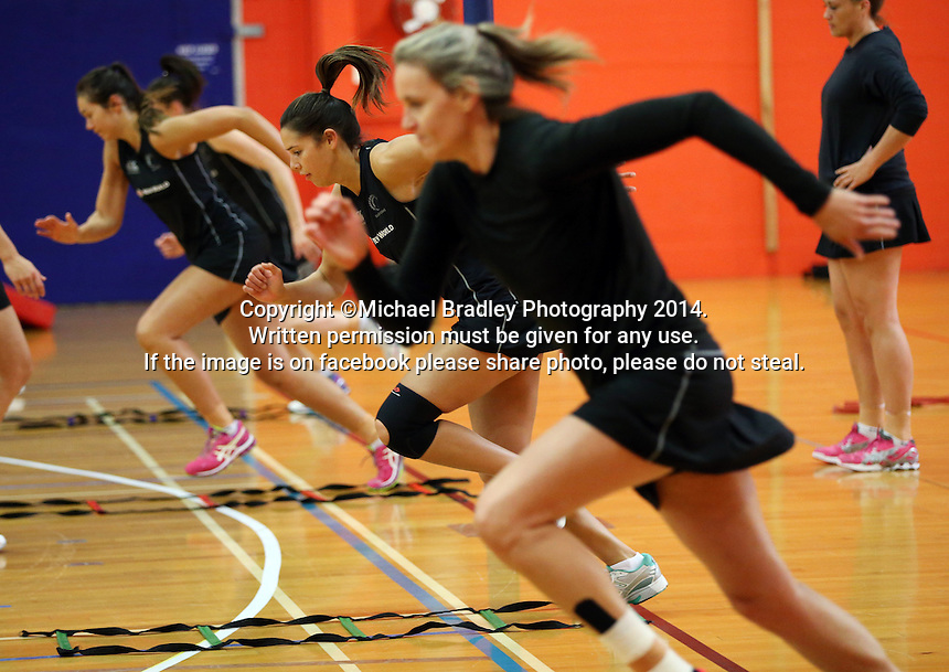 30.10.2014 Silver Ferns Kayla Cullen in action during training ahead of the second test match in Palmerston North. Mandatory Photo Credit ©Michael Bradley.