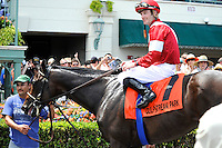 Fort Larned (no. 7), ridden by Julien Leparoux and trained by Ian Wilkes, wins the  27th running of the grade 3 Skip Away Stakes for four year olds and upward on March 31, 2012 at Gulfstream Park in Hallandale Beach, Florida.  (Bob Mayberger/Eclipse Sportswire)