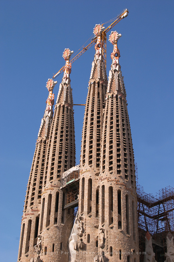 Sagrada Familia towers and crane. Barcelona, Catalonia, Spain.