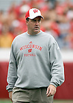 MADISON, WI - SEPTEMBER 9: Offensive coordinator Paul Chryst of the Wisconsin Badgers watches the Badgers during warmups prior to the game against the Western Illinois Leathernecks at Camp Randall Stadium on September 9, 2006 in Madison, Wisconsin. The Badgers beat the Leathernecks 34-10. (Photo by David Stluka)