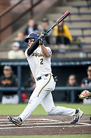 Michigan Wolverines outfielder Jonathan Engelmann (2) blasts a home run against the Maryland Terrapins on April 13, 2018 in a Big Ten NCAA baseball game at Ray Fisher Stadium in Ann Arbor, Michigan. Michigan defeated Maryland 10-4. (Andrew Woolley/Four Seam Images)