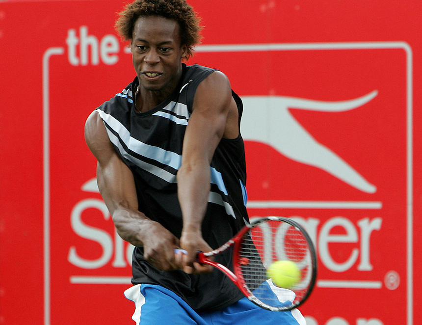 Gael Monfils(FRA) in action against Ivo Karlovic(CRO)..International Mens Tennis - The Slazenger Open - Fri 20 Jun 2008 - The City of Nottingham Tennis Centre - Nottingham - England ..
