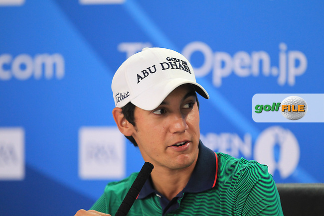 Matteo Manassero (ITA) speaking to the media at The 142th Open Championship Muirfield, Gullane, East Lothian, Scotland 17/7/2013<br /> Picture Eoin Clarke www.golffile.ie: