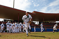 Dartmouth Big Green Thomas Roulis (13) takes the field before a game against the Lehigh Mountain Hawks on March 20, 2016 at Chain of Lakes Stadium in Winter Haven, Florida.  Dartmouth defeated Lehigh 5-4.  (Mike Janes/Four Seam Images)