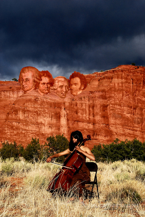 A digital composite image of a cello player with red rock cliffs in the background and the heads of Mozart, Hadyn, Schubert, and Beethoven blended in to resemble Mount Rushmore.