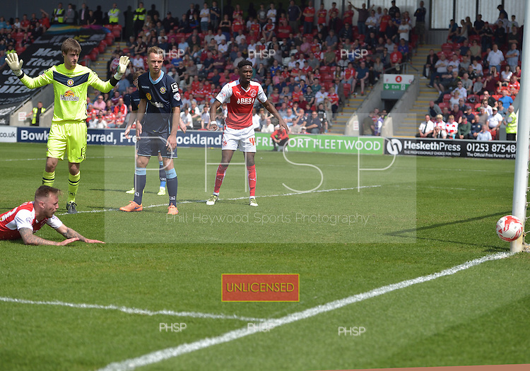 08/05/2016 Sky Bet League 1 Fleetwood Town v <br /> Crewe Alexandra<br /> David Ball's shot goes wide