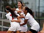 Dunellen at Edison girls soccer in a GMC Tournament game held at Edison High School on Thursday October 20, 2916.<br /> Edison celebrate a 1st half goal.