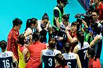 Team coach Lang Ping of China (R) talks for her team during the FIVB Volleyball Nations League Hong Kong match between China and Italy on May 31, 2018 in Hong Kong, Hong Kong. Photo by Marcio Rodrigo Machado / Power Sport Images