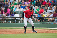 Tyler Sullivan (2) of the Kannapolis Intimidators takes his lead off of first base against the Rome Braves at Kannapolis Intimidators Stadium on April 12, 2017 in Kannapolis, North Carolina.  The Braves defeated the Intimidators 4-3.  (Brian Westerholt/Four Seam Images)