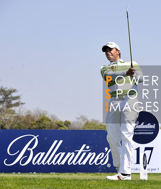 JEJU, SOUTH KOREA - APRIL 24:  Pablo Larrazabal of Spain tees off on the 17th tee during the Round Two of the Ballantine's Championship at Pinx Golf Club on April 24, 2010 in Jeju island, South Korea. Photo by Victor Fraile / The Power of Sport Images