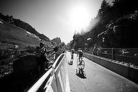 Frank Schleck (LUX/Trek-Segafredo) & Jan Polanc (SLO/Lampre-Merida) with 200 meters to go<br /> <br /> stage 17: Bern (SUI) - Finhaut-Emosson (SUI) 184.5km<br /> 103rd Tour de France 2016